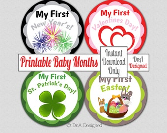 Holiday Printable Milestone Stickers - Instant Download - Baby First Holiday - DIY - {1BF}