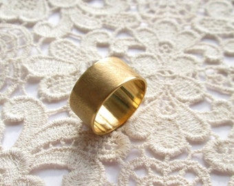 Gold-plated ring wide, 58 Matt Gr. wide band gold plated US size 8.4 UK size Q 1/2