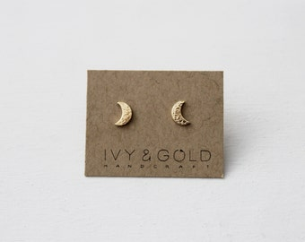 Crescent Moon Earrings in 14k yellow gold. Fine Jewelry. Celestial. Phases of the Moon. Waxing Moon. Waning Moon. New Moon.