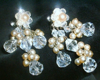 Sparkly Crystal Pearl Chandelier Earrings Drippy Dangle 1950s Couture Unsign Miriam Haskell Demario Robert Cha Cha Waterfall Wedding Bridal