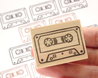 Retro cassette tape, Handmade rubber stamp, Wall decor, Gift for boys, Wrapping paper, Japanese stamp, Cute stationery Cartridge tape Custom