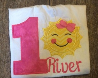 Sunshine birthday shirt/embroidered/applique/pink/yellow/party/theme