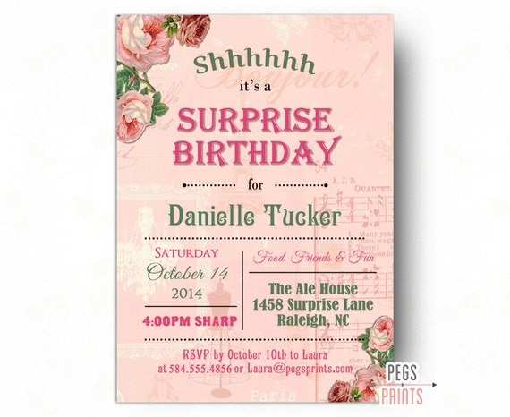 Shabby Chic Surprise Party Invitation Printable Surprise 60th