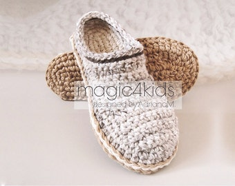 Crochet pattern- men basic clogs with rope soles,soles pattern included,adult,men,teen boys,slippers,loafers,scuffs,slip on,shoes,cord,twine
