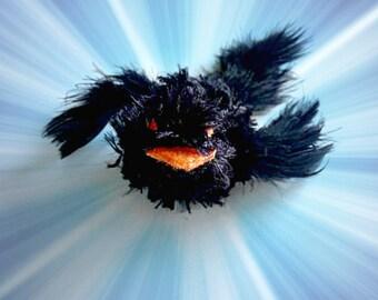 Black Bird Cat Toys, Catnip Toys, Kitten Toys, Kitten Play, Stuffed Cat Toys, Catnip Birds, Knit Cat Toys, Feather Toy