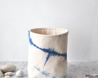 indigo shibori dyed Canvas fabric storage basket. Small.