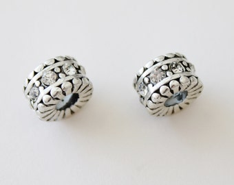 Antiqued Silver with Rhinestones Large Big Hole European Bead Charms Set of (2) 11x7mm Fits Pandora Style Bracelets