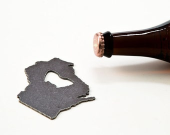 July 4th  Wisconsin Recycled Metal Bottle Opener - Travel Gift, Wedding Favor
