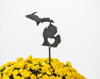 Michigan State Heart Garden Art Stake