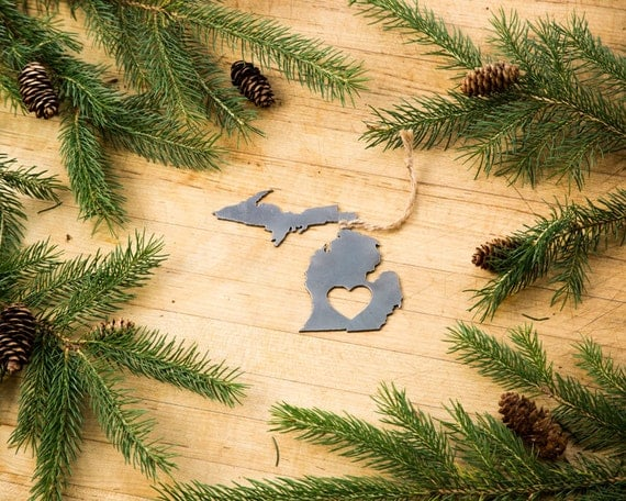 remarkable michigan exposures office thanksgiving decorations | Love Michigan Christmas Ornament State Rustic Metal Recycled