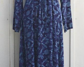 Long Sleeve Tribal Dress - Blue Maxi Dress - Vintage 90s Dress - 1990s Grunge Dress - Empire Waist Bohemian Dress - Boho Hippie Dress