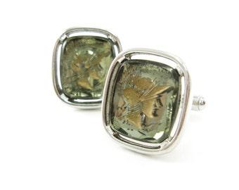 Vintage Trojan Cuff Links, Smokey Glass, Gold Tone, Silver Tone
