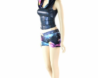Black Holographic Full Length Sleeveless Top with UV Glow Galaxy Hood Lining & Galaxy Midrise Shorts 152342