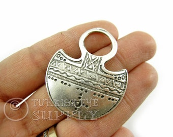 Silver Tribal Pendant, Antique Silver Plated Ethnic Pendant, Turkish Jewelry Supplies