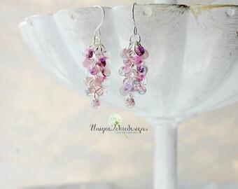 Fringe Bead Earrings, Fringe Earrings, Fringe Jewelry, Purple and Pink Earrings, Beaded Earrings, Colorful Earrings, Gifts for Women, Lilac