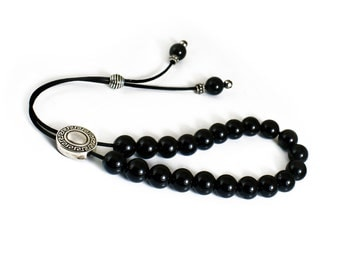 Worry Beads, Black Onyx Beads, Silver tone Metal Master Bead Komboloi