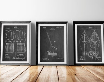 Hockey Patent Posters Group of 3, Hockey Decor, Hockey Stick, Ice Skate, Ice Hockey, Hockey Coach Gift, PP1163