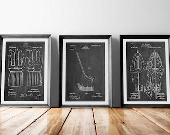 Hockey Patent Posters Group of 3, Hockey Decor, Hockey Stick, Ice Skate, Ice Hockey, Hockey Coach Gift, PP1163