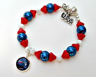 New England Patriots Bracelet, New England Patriots Jewelry, NE Patriots Accessories, NE Patriots Football, Football Mom, NE Patriots Fan