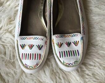 Vintage Embroidered Flats