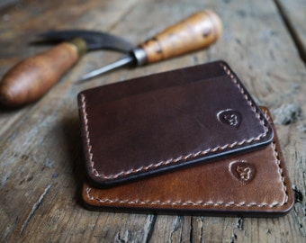 Leather Card Holder Wallet - A Handcrafted Mens Slim and Minimalist Wallet with Cash Pocket. Mens Leather Wallet and Everyday Carry