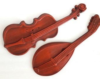 Vintage Violin Mandolin Retro Metal Wall Hanging Orange-y Red Marked Royal