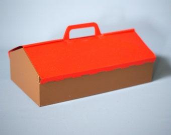 MEWA Red Metal Tool Box, Wilhelm Kienzle, Red Toolbox, Red Utility Box, Mid Century Toolbox, Red Metal Storage Caddy, 1950s Toolbox