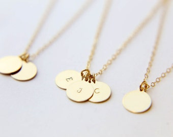Personalized Gold Circle Initial Necklace / Gold Filled Disc Necklace/  Personalized Gift  EP010
