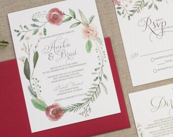 Floral Wedding Invites, Invitation Set, Whimsical Wedding, Invitation suite, Watercolor Invites, Elegant Wedding Invite, Peach and Cranberry