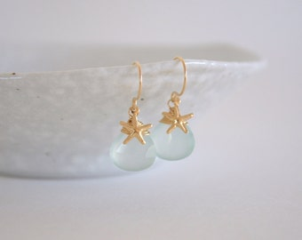 Aqua Chalcedony with Gold Filled Starfish Drop Earrings, Gold Filled