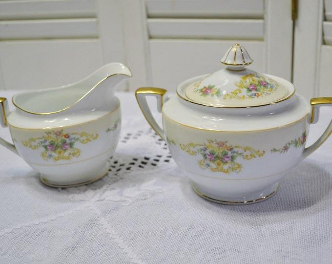 Vintage Noritake Imperial China Sugar Bowl and Creamer Set Floral Design Japan PanchosPorch