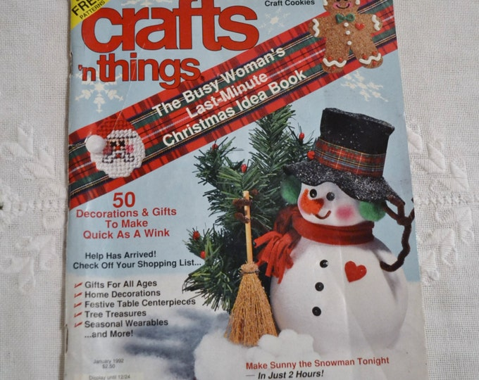 Crafts n Things Magazine January 1992 Holiday Craft Projects Patterns Vintage Instructions DIY Panchosporch