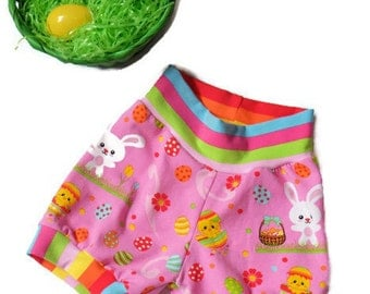 Easter Bubble cuff shorts//girls//baby//toddler