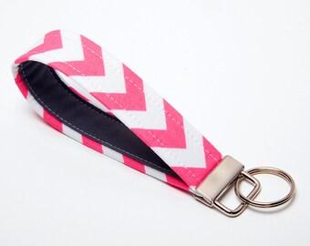 Chevron Key Fob, Fabric Key Chain, Handmade Wristlet Strap - Pink and Grey