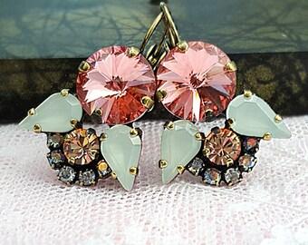 Peach Earrings, Swarovski Earrings, Indie Multicolor Crystal Earrings, Bohemian Wedding Jewelry, Apricot Orange & Mint Green Boho, E3912