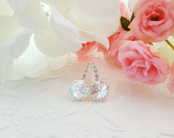 Clear Crystal Drop Earrings - Swarovski Cluster Earrings - Silver Bridal Earrings Dangle - Round Clear Crystal Jewelry for Women E3023