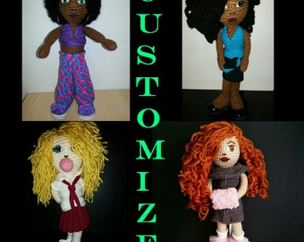 Customizable OOAK 12 inch Crochet Doll