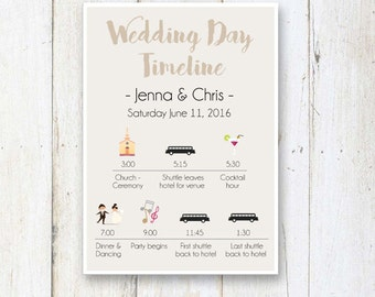 Wedding day timeline etsy wedding day timeline program taupe wedding timeline bridesmaids and groomsmen wedding itinerary timeline digital junglespirit Images