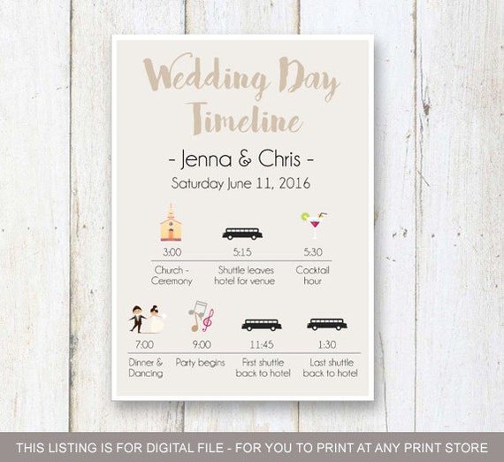Wedding Day Timeline: Wedding Day Timeline Program Taupe Wedding Timeline