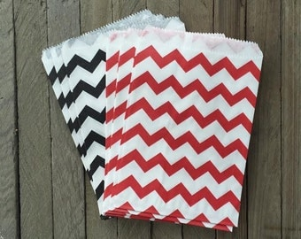 48 Red and Black Favor Bag--Chevron Favor Sack--Red and Black  Candy Favor Bag-- Goodie Bag--Party Sack--Birthday Treat Sacks