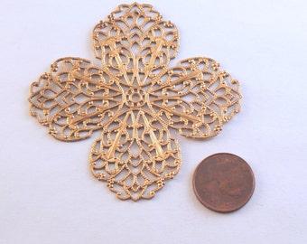 ONE Raw Brass 4 Petal Flower Shaped Filigree Stamping #BC-25-06 - Large Filigree Stamping