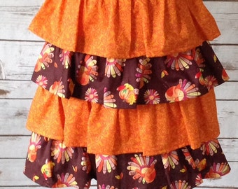 Thanksgiving Half Apron, Orange, Brown, Ruffled Half Apron, Turkeys, Autumn, Fall, Waist Apron