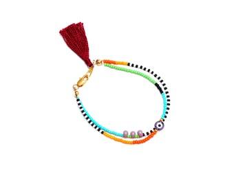 Purple Evil Eye Bracelet - Beaded Friendship Bracelet - Seed Bead Bracelet - Tassel Bracelet - Stackable Bracelet - Hippie Beach Bracelet