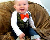 Baby Boy Clothes -Baby Camouflage - Orange Bow Tie - Camo Vest Outfit - Coming Home Outfit - Boys First Birthday - Camouflage Tuxedo