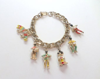Blackamoor Jewelry Charm Bracelet Steel Band Calypso Hand Painted Vintage Bracelet Jewelry