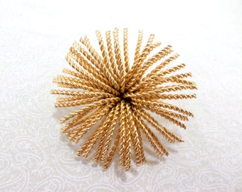 Gold Sunburst Brooch Pin Scarf Pin Coat Lapel Vintage Fireworks Wire Twist Brooch Pin Gold Vintage Pin Jewelry