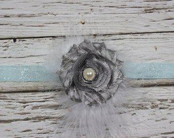 Silver Shabby Chic Flower and White Feather Puff Headband on Light Blue Glitter Elastic