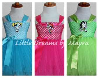 The Powerpuff girls inspired tutu dress and matching bow size nb to 10years, Powerpuff girls birthday party inspired outfit