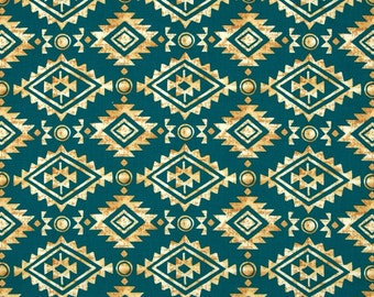Southwest Stripe Fabric -  Painted Desert Diamond Stripe by Michael Miller - CX 6651 Teal / Tan  - Priced by the 1/2 yard