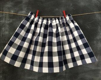 Girl's Navy & White Gingham Twirly Skirt, Toddler Gingham Skirt, Baby Navy and White Full Skirt, Girls Navy Gingham Twirl Skirt, Size 4T/5T